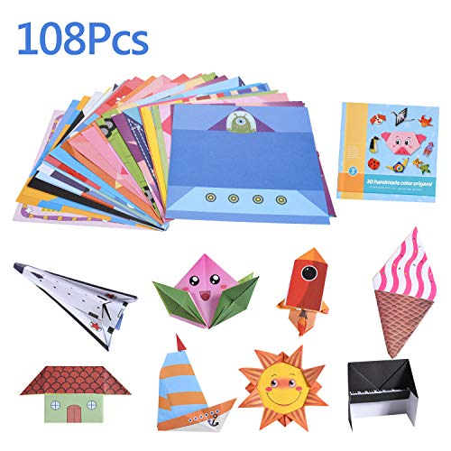 Papel para papiroflexia,108 Hojas de Origami -54 Motivos Distintos Doble Cara Papel para Origami para Proyectos de Arte y Manualidades,Color kit de Origami para Niños y Adultos(14x14 cm)