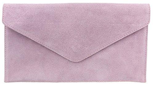 Girly Handbags Mujer Cuero de Gamuza Envelope Clutch Pulsera Piel Auténtica Rígido Bolso bandolera Lila