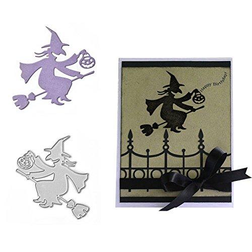 Plantilla de troquelado para bricolaje, bruja de Halloween, farol de calabaza, troquel de corte decorativo de metal para álbumes de recortes