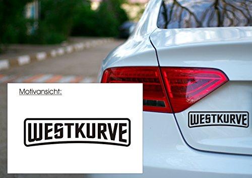 Autoaufkleber WESTKURVE Fußball FAN Sport ; Farb- und Größenwahl (450 mm x 120 mm, Grau)