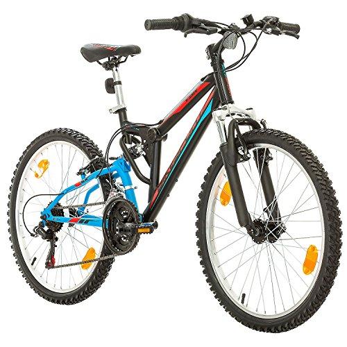 BIKE SPORT LIVE ACTIVE Fahrrad MTB Mountainbike Fully Full Suspension 24 Zoll Bikesport Parallax Shimano 18 Gang (Black Blue)