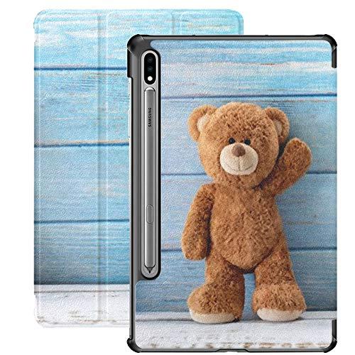 Funda Galaxy Tablet S7 Plus de 12,4 Pulgadas 2020 con Soporte para bolígrafo S, Lindo Oso de Peluche con Espacio para copiar en una Funda Protectora Delgada con Soporte para Samsung