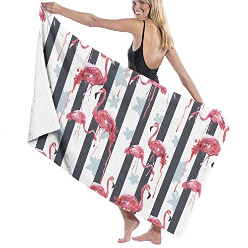 Watercolor Flamingo with Stripes Bath Towels (52×32in) Extra Large for Women Superfine Fiber Highly Absorbent and Quick Dry - Super Soft