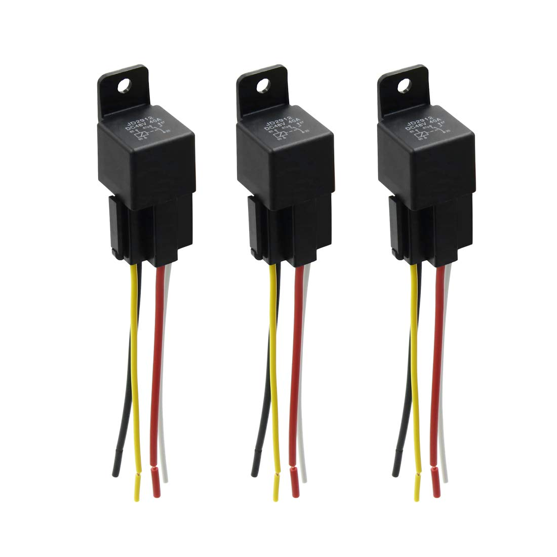 3 Set 12V DC 40A 40Amp 4-Pin SPST Automotive Car Relay 4 Wires Harness Kits
