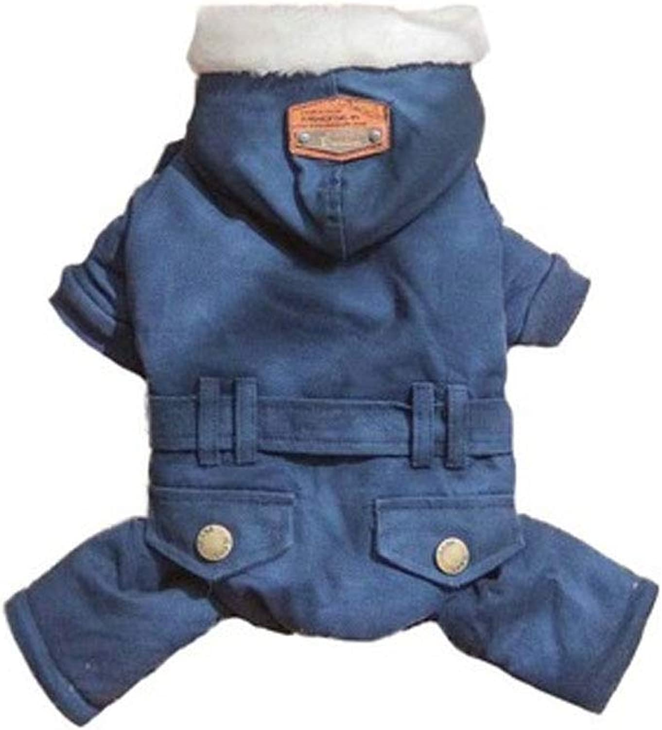 Huijunwenti Dog Clothes, New Windbreaker Thicker Than Xiong Guibin Bomei Plus Velvet Coat Winter Dog Winter Clothes Fashion (color   bluee, Size   S)