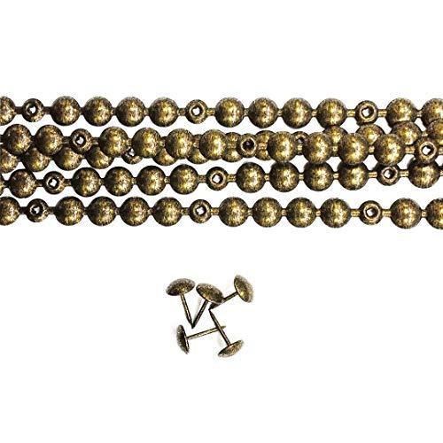 Preisvergleich Produktbild 5 Meter Ziernagelstangen Antikgold 9.5mm mit 20 Passenden Befestigungsnägel - Ziernagelstreifen für Polster