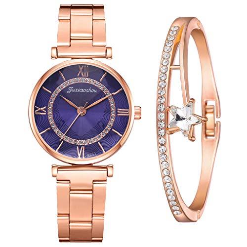 CPNG, Armband + horloges, zakelijk kwartshorloge met armband, mode dames kwartshorloge met roestvrij stalen armband, dameshorloge dameshorloge, casual polshorloge cadeau voor moeder (B13)