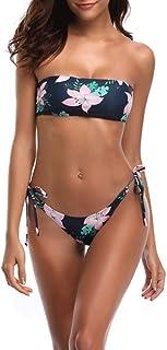 Traje de baño de raya horizontal con cordones para mujer Trajes de bikini para vacaciones tropicales Fiesta en la piscina Fiesta en la playa Luna de miel de vacaciones Trajes de dos piezas Color : Blue , Size : XL Ropa de baño