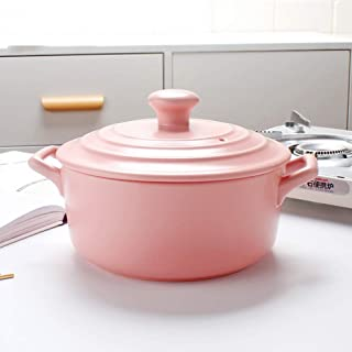 Mini gjutjärn holländsk ugn, kastrull kök kastrull, köksredskap, emalj anti-skållning oval stekpanna rosa 2,2 l
