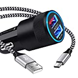 5.4A Fast USB C Car Charger Adapter for Samsung Galaxy S21+/S21 Plus/Ultra/S20 FE 5G/S10+/S10e/S9/Note 21/20/10/9/A52/A72/A51/A71,Quick Charge Dual USB Rapid Car Charger with 6ft Type C Charging Cable