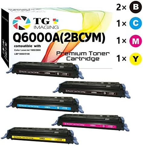5 Pack Extra Black Compatible Q6000A 1600 2600 Black Toner Cartridge for use in HP 124A Sold product image