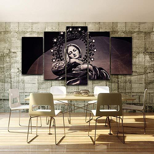 wjdymx Decoración De Pared Arte Moderno De La Pared Imágenes De Lienzo para Sala De Estar Carteles 5 Piezas Virgen María Pintura Decoración para El Hogar HD Impreso Foto