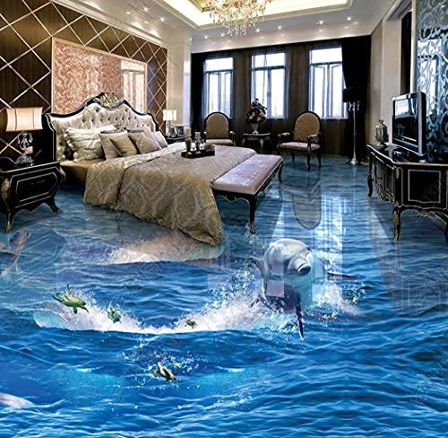 Fondo de pantalla de delfines que salen corriendo de la superficie del agua Océano 3D tridimensional baño sala de estar piso baldosa-300 * 210 cm