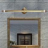 Lámpara de Espejo Lámpara de la luz del espejo del LED, retro americano Alta calidad Ángulo ajustable Lámparas del espejo del baño Lámparas de cobre llenas de la pared de la piedra del jade Iluminación del cuarto de baño Exhibición de la imagen Maquillaje, blanco caliente , 73cm