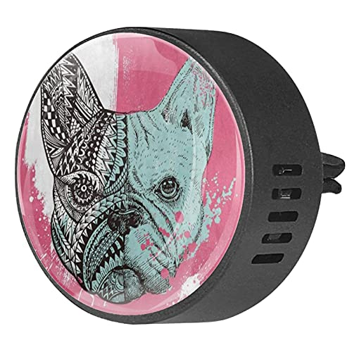 2 Packs Car Diffuser With Clip Air Fresheners,French bulldog with paint splatters,Aromatherapy Essential Oil Portable for bedroom
