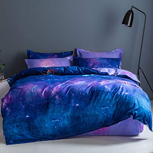 Wellboo Sky Starry Duvet Cover Set Blue and Purple Soft Bedding Cover Romantic Moon Star King with Zipper Closure Corner Ties Breathable Durable Comforter Cover Boys Girls Dorm Cover 3 PCS No Insert