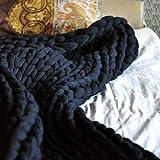 ASY Manta de punto gruesa hecha a mano para tejer, manta gigante, suave, gruesa, supersuave, manta para sofá, manta para mascotas, decoración de dormitorio, color negro, 150 x 150 cm