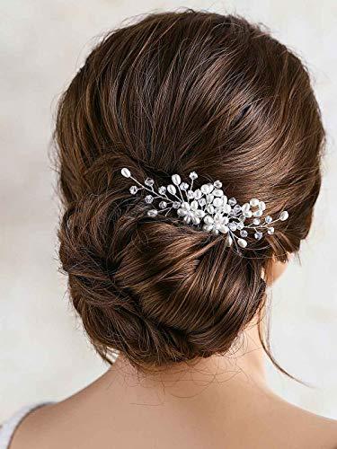 Ushiny Hochzeit Blumen Haarkamm Perlen Stirnband Brautschmuck Haarschmuck Haarschmuck für Frauen und Mädchen (Silber)