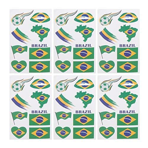 LIOOBO 24 Feuilles de Drapeau National Corps Autocollants Temporaire Visage Tatouages ??Décalcomanie pour Les Fans de Football Sports Olympiques (Brésil)