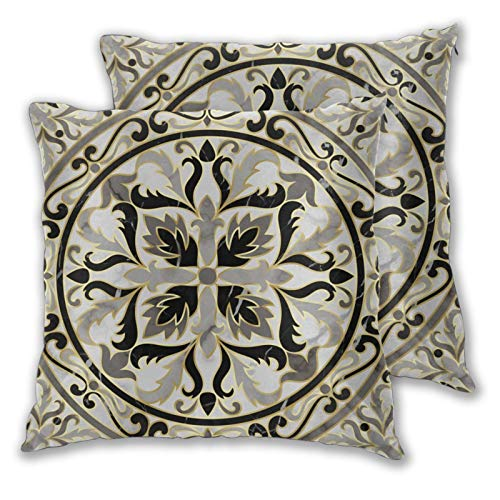 3D Print Throw Pillow Cover Case,Luxury Marble Classic Floral Medallion Marbling Gold Modern Luxurious Background,Modern Pillowcase Cushion Covers Sofa Couch Bed Car Set Home Decor 20'x 20' 2pcs