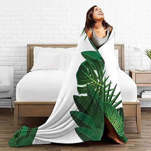 DWgatan Couverture,Couvre-lit de canapé Polyvalent Doux et Chaud de qualité Exotic Fantasy Hawaiian Tropical Palm Leaves Printed Blanket for Bedroom Living Room Couch Bed Sofa -80\