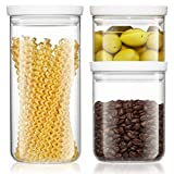 Freyian Canister Sets For Kitchen Counter, Airtight Glass Canisters, Food Storage Containers With Lids, Set Of 3 Glass Jars With Lids (White)