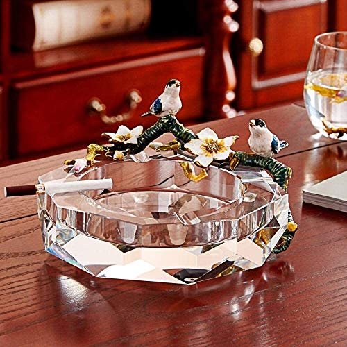Cenicero de Cristal de Moda Cenicero de Vidrio cenicero Grande cenicero de Gama Alta Creativo Sala de Estar hogar cenicero Personalidad Ornamentos de Moda cenicero portátil cenicero (Color : Clear)