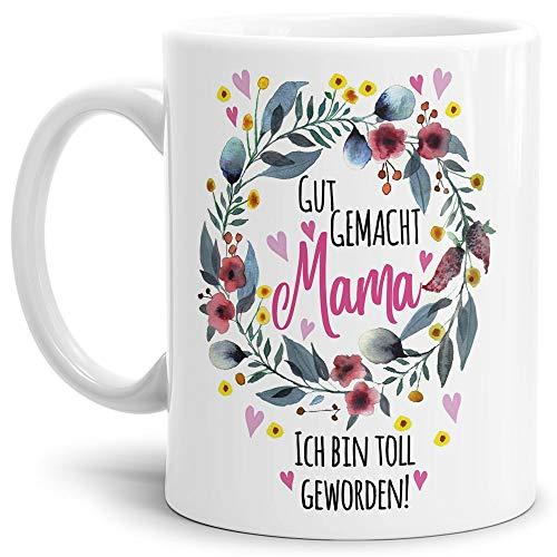 Tasse mit Spruch für Mama - Danke - Kaffee-Tasse/Geschenk-Idee Muttertag Geburtstag/Muttertagsgeschenk/Für Meine Mutter - Weiß