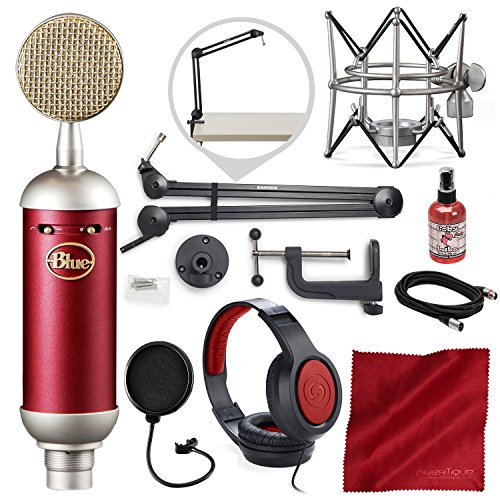 Blue Spark SL Large-Diaphragm Studio Condenser Microphone with Samson Microphone Boom Arm Stand, Closed-Back Headphones, and Platinum Bundle