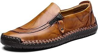 7a5ff46f4685e LIEBE721 Chaussures en Cuir pour Hommes Fermeture à glissière Casual Bateau  Sneaker Non-Slip Durable
