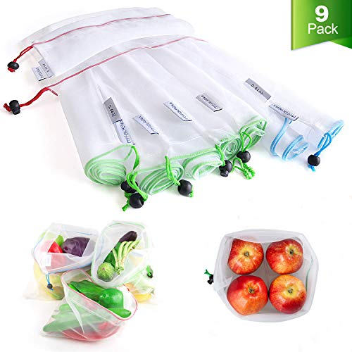 Myfolrena bolsas reutilizables para productos, lavables y transparentes, bolsas de compras de malla con cordones para guardar frutas, verduras y juguetes (2 pequeñas + 5 medianas + 2 grandes)