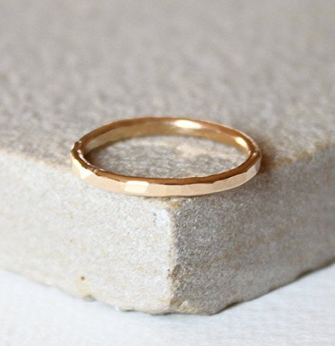 Solid gold, thin gold ring, stacking ring, delicate jewellery, dainty ring, hammered ring,