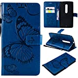 ARSUE Moto X Pure Edition (Moto X Style) Case,Wallet Leather Folio Flip PU Card Holder Slots with Kickstand Phone Protective Case Cover for Motorola Moto X Pure Edition/XT1570,Butterfly Navy Blue