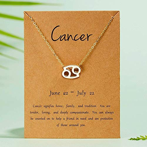 DRTWE Zodiac Necklace,Cancer Female Elegant Star Zodiac Sign 12 Constellation Necklaces Pendant Charm Gold Chain Choker Necklaces For Women Jewelry Cardboard