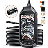 DEPSTECH Endoscope 1080P Dual-Lens, Borescope with 4.5in IPS Screen,HD Inspection Camera with 6 LED Lights,Handheld,3300mAh Battery,32GB TF Card and Case, Snake Camera, Waterproof, Tool(16.5 ft)