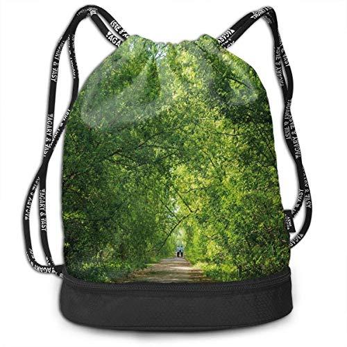 shenguang Kordelzug Rucksäcke Taschen, frische Wald Baldachin Bäume über Fußweg in einem alten Park Menschen gehen natürliche Landschaft, verstellbar