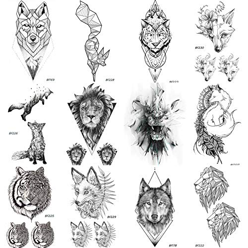 12 Pieces/Lot COKTAK Real Tribal Tiger Face Temporary Tattoos For Women and Men Body Art Fake Black Waterproof Fox Tatttoo Sticker Lion Design 10x6CM