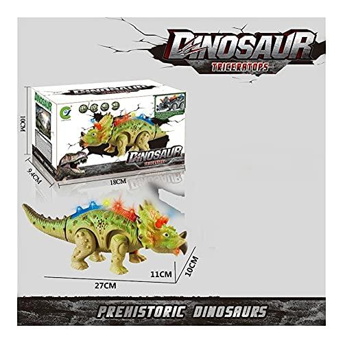 RC Dinosaurio Tynannaurus Rex Animal No Control Remoto Sonidos Animales eléctricos Animales Animales Interactivos para Niños Regalo (Color : Green Triceratops)