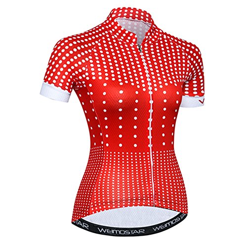Women's Cycling Jersey with Short Sleeves,Girls MTB Bike Shirt Top with Three Pockets Red Dots Size S