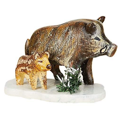 Hubrig Neuheit 2014 - Winterkinder, 1x Figur Wildschweine, Höhe: ca. 2,8cm, Erzgebirge