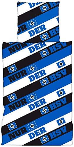 Hamburger SV Bettwäsche - Blau Weiß Schwarz -2-teilig (Bezug, Kissen) HSV (L)