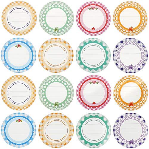 7thLake 30 Blätte/480 STK. Mehrfarbige Einmachetiketten Gefrieretiketten Runde Selbstklebend Wiederverwendbare Etiketten Aufkleber Labels Tags für Marmelade, Einmach- und Gewürzgläser, 2 Zoll
