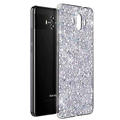 OKZone Funda Huawei Mate 10 Carcasa Purpurina, Cárcasa Brilla Glitter Brillante TPU Silicona Teléfono Smartphone Funda Móvil Case [Protección a Pantalla y Cámara] para Huawei Mate 10 (Plata)