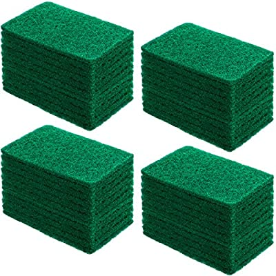 60 Pieces Heavy Duty Scour Pads Non-Scratch Household Scrub Pads Multipurpose Dish Scrubber Scouring Pads for Kitchen Bathroom Household Cleaning, Green