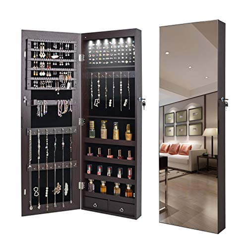 QUANYOU 6 LED Lights Lockable Full Mirror Full Screen Jewelry Organizer Wall -