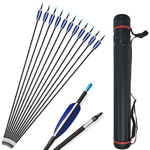 SHARROW 12x Carbonpfeile 31 Zoll Carbon Pfeile mit Naturfedern Jagd Pfeile für Bogen 700 Spine Bogenpfeile für Recurvebogen Compound Bogen (Pfeile+Köcher)