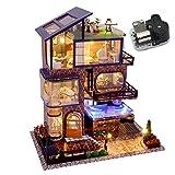 erhumama Lujo Cuatro Pisos Ascensor Villa Casa de Muñecas Con Movimiento de Música Diy Miniatura Muebles de Edificio Luces 3D Casa de Madera Puzzle Modelo de Cumpleaños Para Niños Niños