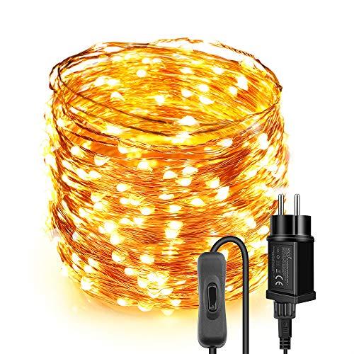 Moobibear Cadena de luces LED Blanco Cálido, Guirnalda Luces Exterior 30m 300 leds, IP65 Impermeable, Alambre de Cobre para Decoración, 12V, Con Enchufe y Interruptor