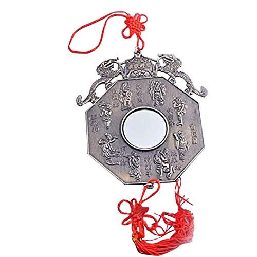 Pa kua espejo Feng Shui Pakua/12,45 cm/con Double Dragon W incluye Mxsabrina rojo Pulsera cuerdas Y1379