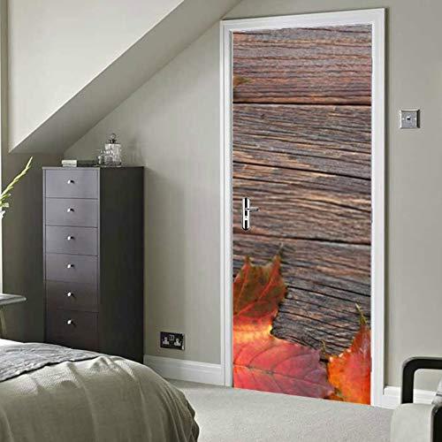 RAUP Moderne Kunst 3D Tür Aufkleber, Herbst Ahorn Blätter auf Alten Holzschale und Stick abnehmbare Vinyl Tür Aufkleber für Wohnkultur, 30,3